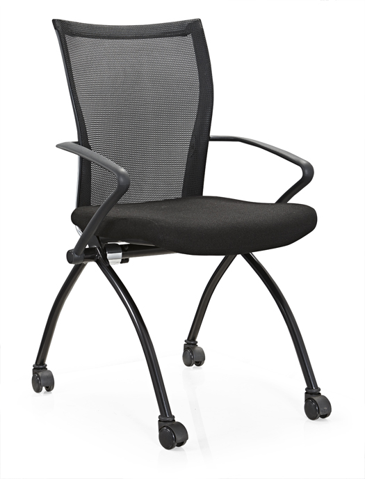 Metal folding conference chair with wheel