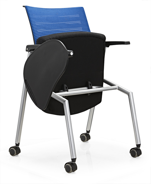 Conference folding chair with writing table/plastic office chair with metal mesh