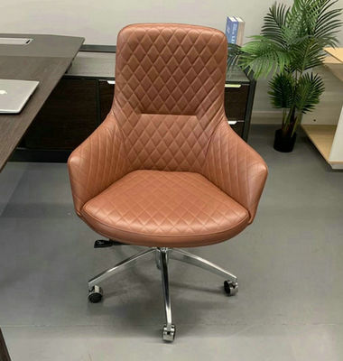 Dark Tan Genuine Leather High quality Embossing Aluminum office chair home office chair