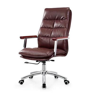 Luxury office furniture leather swivel chair ergonomic wooden handrail rotating lift office chair