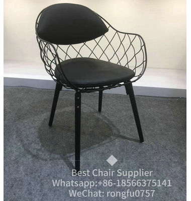 Factory hor sale dining room furniture Magis Pina metal wire chair by Jaime Hayon with wooden and fabric cushion