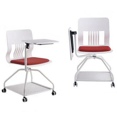 Folding Portable Office Mesh Chair With Wheels Writing Board Storage Outdoor Meeting Student Commercial Furniture