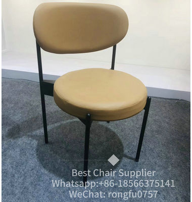 Wholesale powder coating metal legs linen seat commercial cafe dining chair