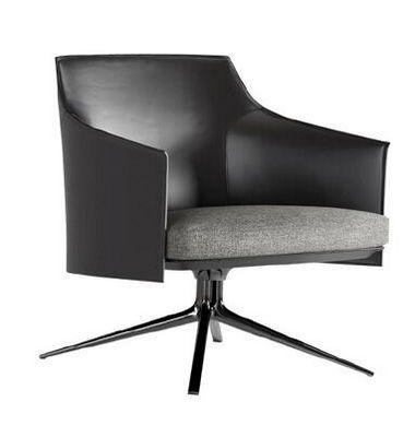 Italian minimalist armchair black lacquered Swivel Leather Lounge Chair Hotel clubhouse sitting room single chair
