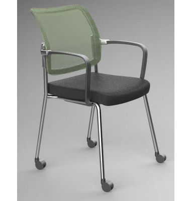 New Model High Quality Conference Chair Staff Training Four Legs Mesh Chair With Caster Stackable Mesh Guest Chair